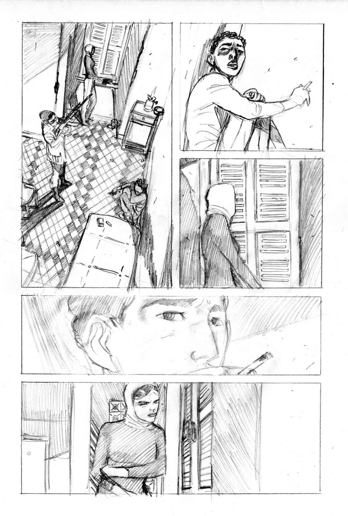 Le tavole a matita de 'Il Corvo: memento mori'