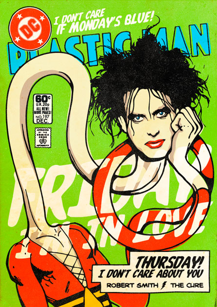 Robert Smith in versione Super-Rock Eroe, disegnato da Butcher Billy | <a href=\'/rr-style/foto-rrstyle/i-super-rock-eroi/\'>Guarda la gallery</a>