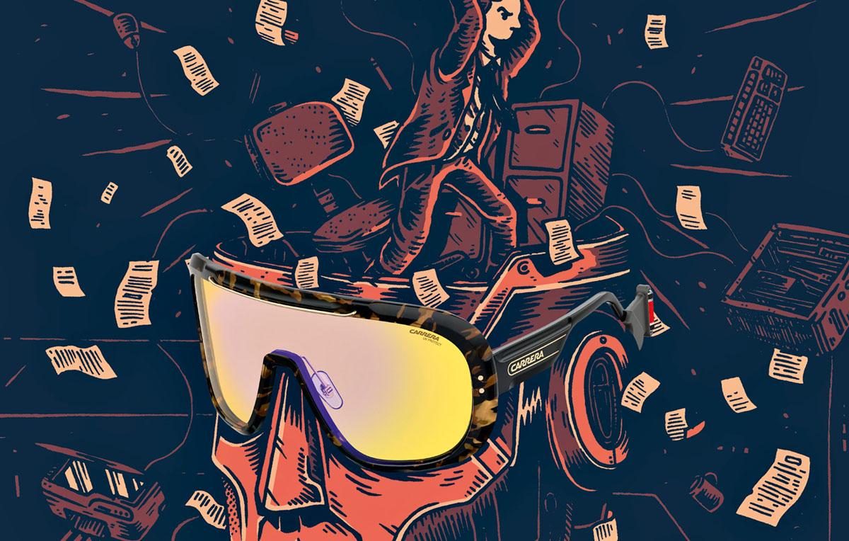 CARRERA EPICA - Pescano a piene mani dalle forme storiche del brand, questi nuovissimi Carrera Epica. Ispirati dall'icona 5520, questi occhiali sono fatti apposta per non passare inosservati. E quando il sole va giù, hanno anche un elastico per essere portati al collo - Illustrazione di Alessandro Ripane