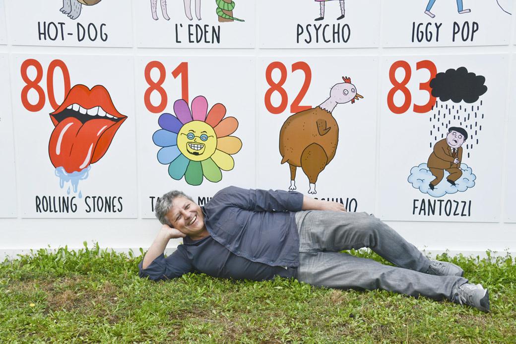"""Tutte le illustrazioni della """"Wall of Fame"""" di Rolling Stone al Pitti sono di <a href=""""http://www.laurinapaperina.com/"""" target=""""_blank"""">Laurina Paperina</a>"""