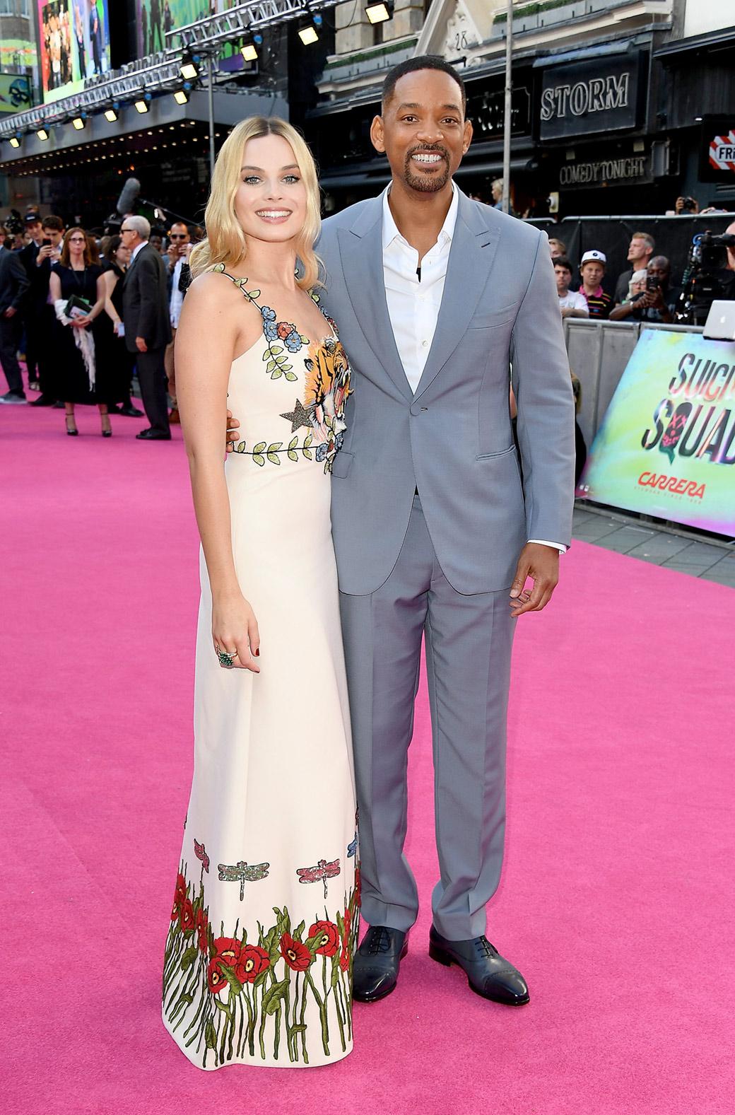 Margot Robbie e Will Smith. Foto Getty