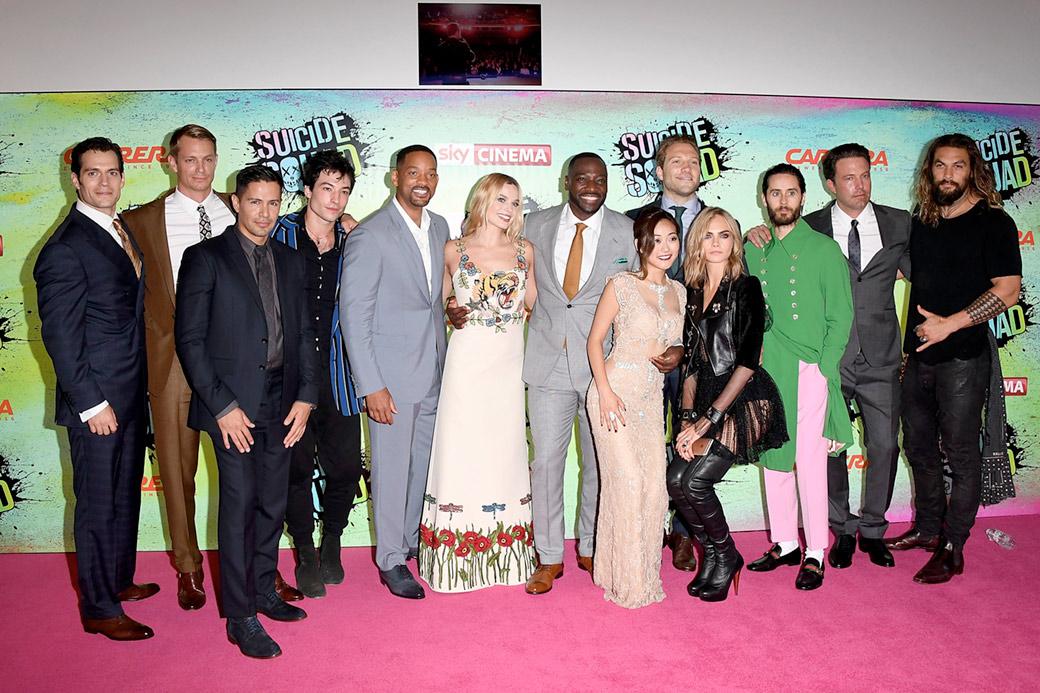 Il cast di Suicide Squad al completo. Foto Getty
