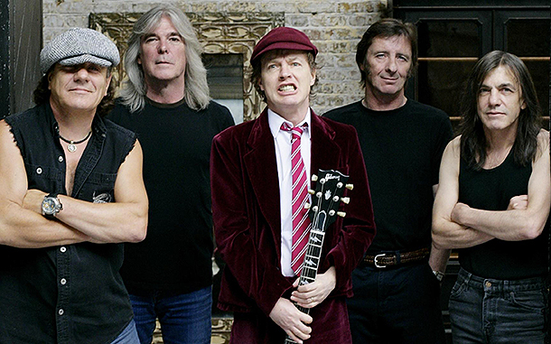 """Gli AC/DC all'epoca di """"Black Ice"""", Foto via Columbia/SonyMusic"""