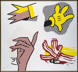 Roy Lichtenstein, Study of Hands, 1980, Olio e Magna su telaRoy Lichtenstein, Study of Hands, 1980, Olio e Magna su tela