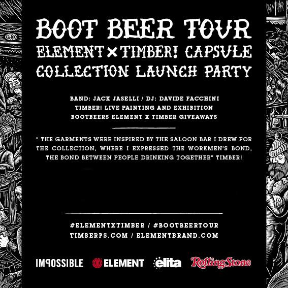 L'invito alla festa di Element per la collaborazione con Timber