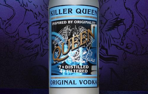 Un dettaglio della bottoglia Vodka Killer Queen