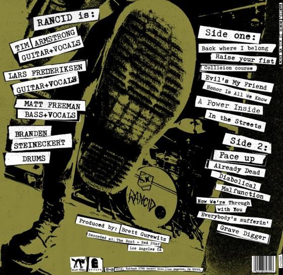 """Il retro della copertina di """"Honor is all we know"""" dei Rancid"""