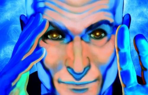 """Lorenzo Mieli, produttore di """"X Factor"""" dal 2011, nelle vesti del super mentalista della Marvel. Illustrazione di Paolo D'altan per Rolling Stone"""