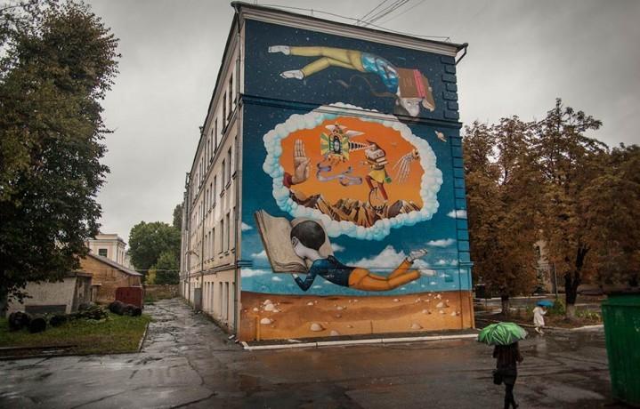 Uno dei murales di Volodymyr Manzhos, artista, 33 anni, a Kiev (foto: Marcello Fauci)