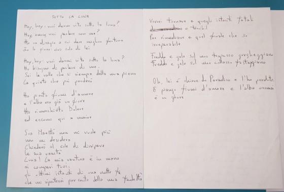 """Il testo di """"Sotto la luna"""", una delle canzoni dell'ultimo album """"Pansonica"""", scritto a mano da Cristiano Godano"""