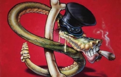 """La copertina di """"It's Five O'Clock Somewhere"""", album di debutto degli Slash's Snakepit, il supergruppo di Slash con Matt Sorum e Gilby Clarke (Guns N'Roses), Mike Inez (Alice in Chains) ed Eric Dover (Jellyfish)"""