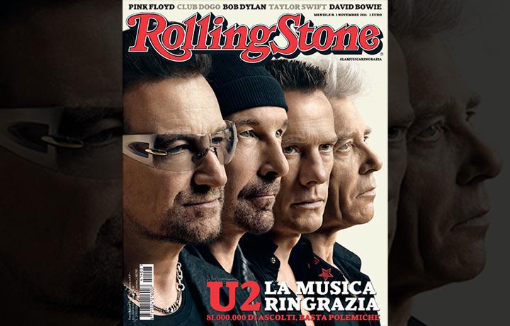 """""""U2. La musica ringrazia"""". La copertina di Rolling Stone di novembre"""