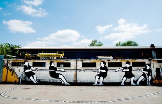 Un murales di MP5 a Torino