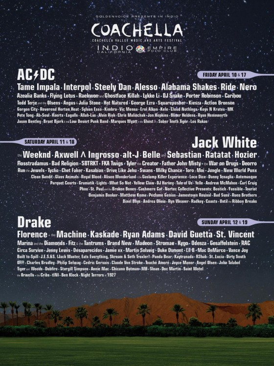 Chi suonerà al Coachella 2015 (clicca sull'immagine per vederla in alta risoluzione)