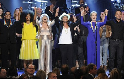 Bruno Mars, Springsteen, Lady Gaga, Maryl Streep. Foto CBS via Getty
