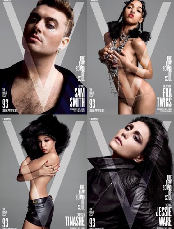 """Le quattro copertine del numero 93 del magazine """"V"""". Un'edizione dedicata alla musica"""