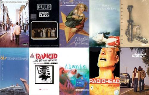 Le copertine delle cassette dei 10 album che compiono 20 anni nel 2015