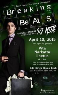 Breaking Beats, la serata di esordio di RJ Mitte come dj, il 30 aprile a New York