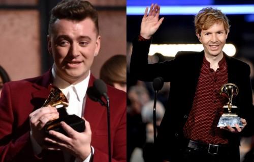 Il grande vincitore della serata dei 57esimi Grammy Award Sam Smith (22 anni) e Beck, vincitore del premio di Album dell'anno