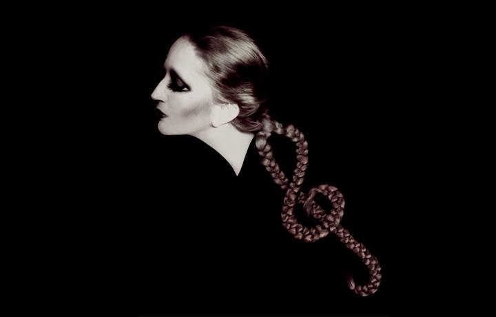 """Mina Mazzini, ritratta da Mauro Balletti ed elaborata graficamente da Giovanni Gastel, in occasione del progetto """"Le 100 Facce della Musica Italiana"""""""