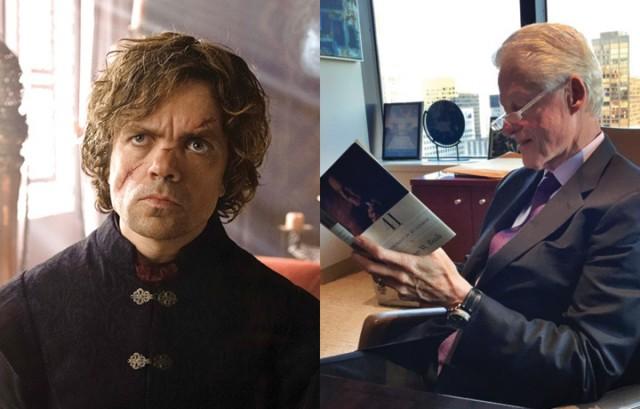 Tyrion Lannister/Bill Clinton. Foto: Hbo e Twitter