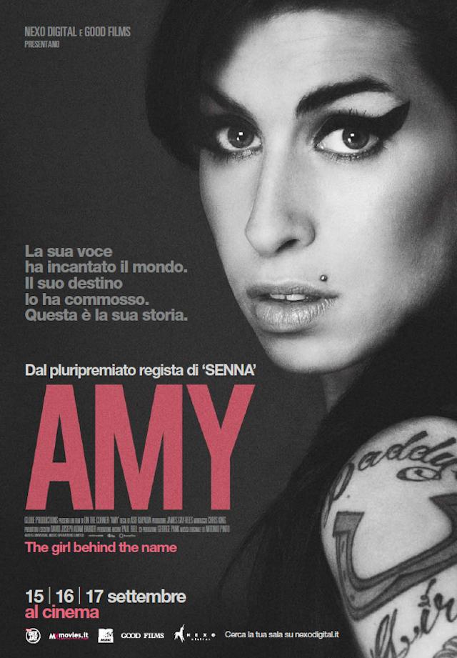 """La locandina di """"Amy"""", il film uscirà il 15, 16 e 17 settembre nelle sale italiane"""
