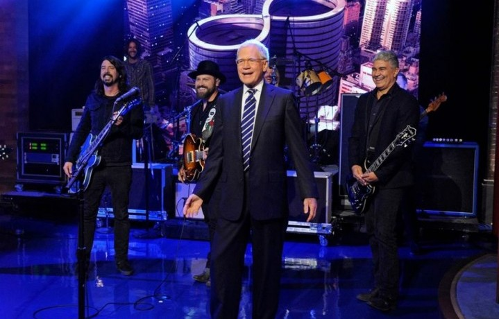 David Letterman con i Foo Fighter. Fonte: Facebook