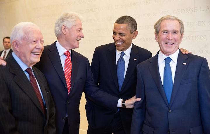 Carter, Clinton, Obama e Bush all'ultimo President's day. Fonte: Facebook