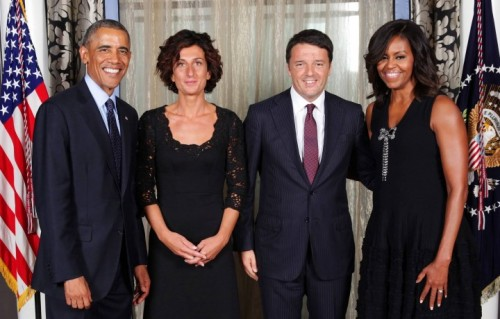 Matteo Renzi e la moglie Agnesi, durante la visita alla Casa Bianca.