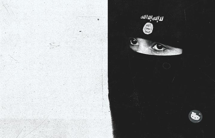 Sulla fronte del suo niqab, la ragazza a destra porta la Shahada, la professione di fede islamica. Illustrazione di Patrick Concepcion