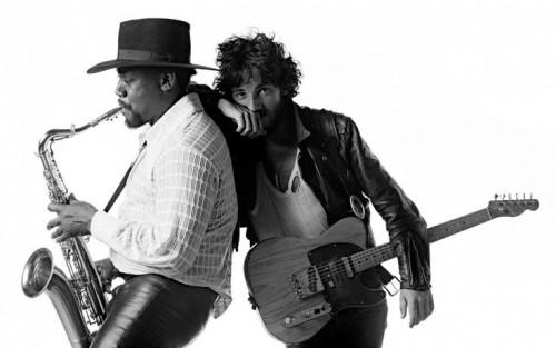 """Bruce Springsteen e Clarence Clemons nello scatto per la cover di """"Born To Run"""""""