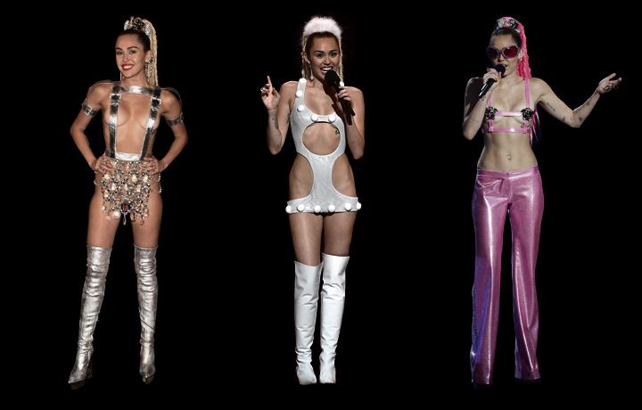 Tre dei look (Versace e Atelier Versace) sfoggiati durante i VMA da Miley Cyrus.