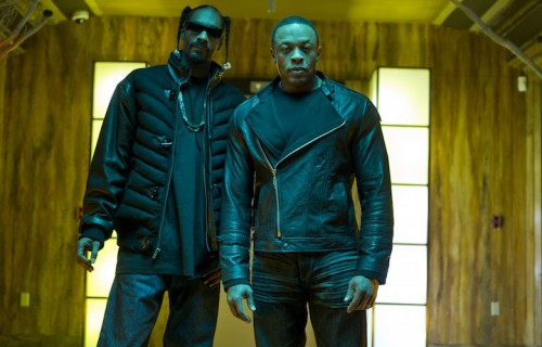 "Dr. Dre e Snoop Dogg sul set del video di ""Kush"""