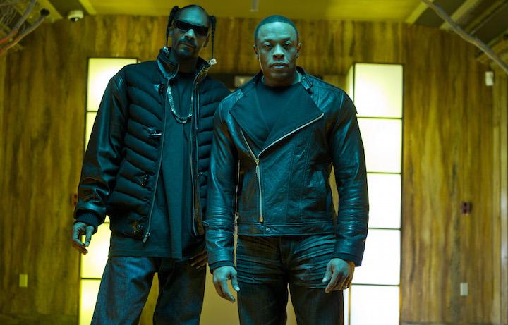 """Dr. Dre e Snoop Dogg sul set del video di """"Kush"""""""