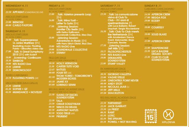 Il programma completo di C2C 2015