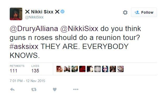 Il tweet di Nikki Sixx sulla reunion dei Guns