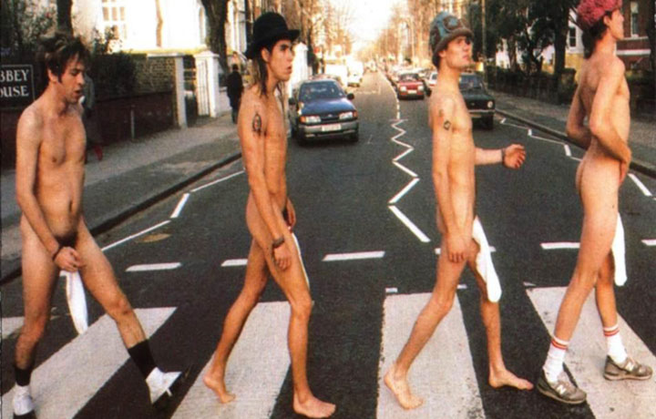 "La copertina di ""Abbey Road E.P."" dei Red Hot Chili Peppers"