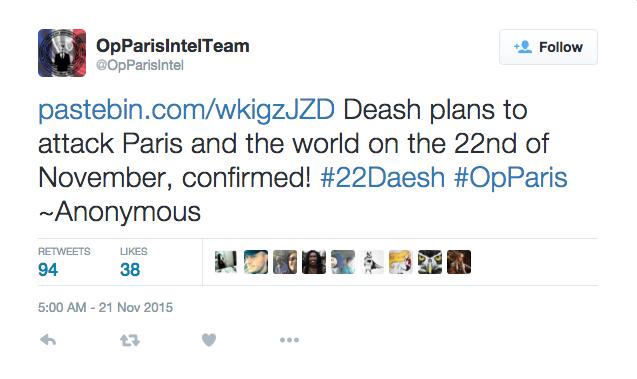 Il tweet del presunto sottogruppo di Anonymous che annuncia degli attentati dell'ISIS per il 22 novembre