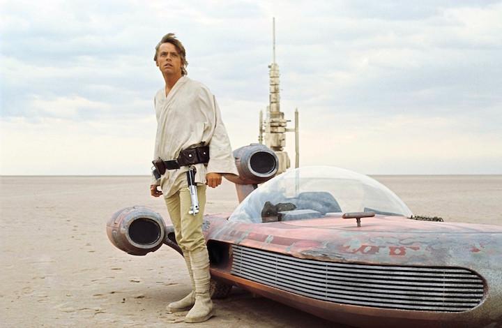 Mark Hamill sul set di Guerre Stellari, 1977. Foto di John Jay