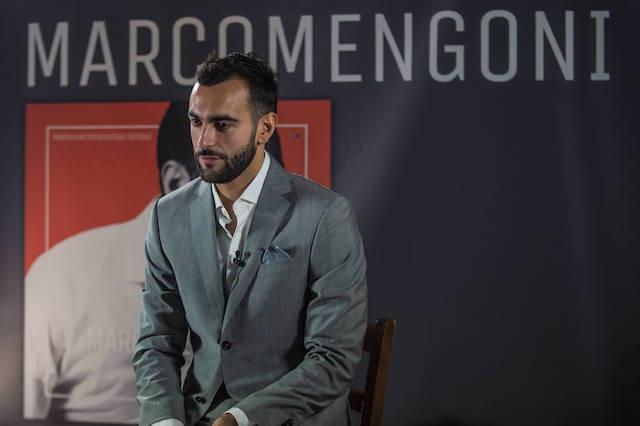 Marco Mengoni in Z Zegna alla presentazione del suo album