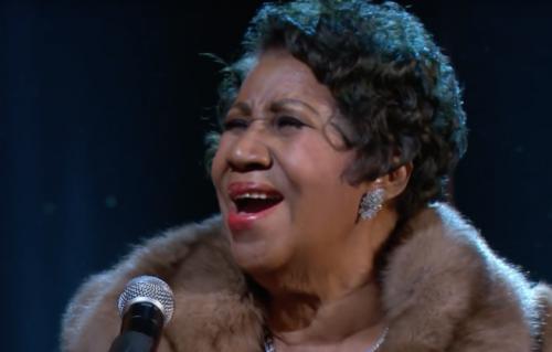 Un momento dell'esibizione di Aretha Franklin