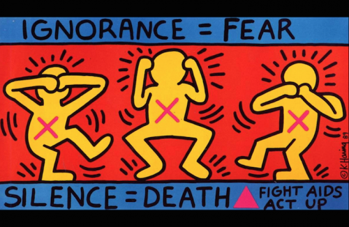 """Ignorance = Fear. Silence = Death. Fight AIDS. Act Up."" di Keith Haring"