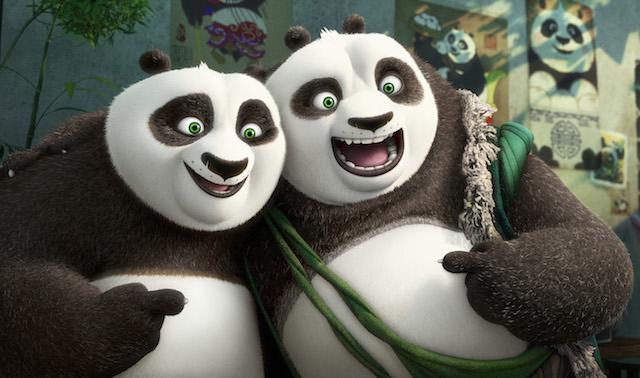 Un'immagine da Kung Fu Panda 3. Jack Black doppia il panda Po nella versione originale