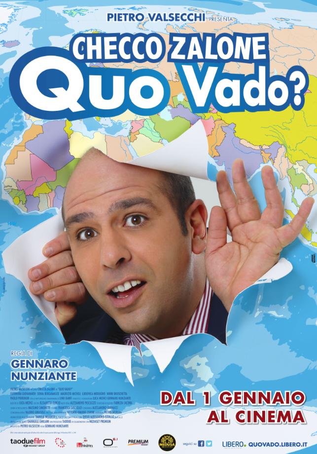 """La locandina di """"Quo Vado?"""" in uscita il 1 gennaio 2016"""