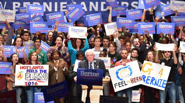 Bernie Sanders ad Atlanta con i suoi sostenitori, foto di Prince Williams/WireImage