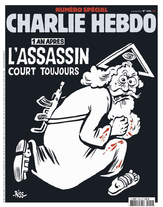La copertina del numero di Charlie Hebdo in ricordo dell'attentato del 7 gennaio 2015