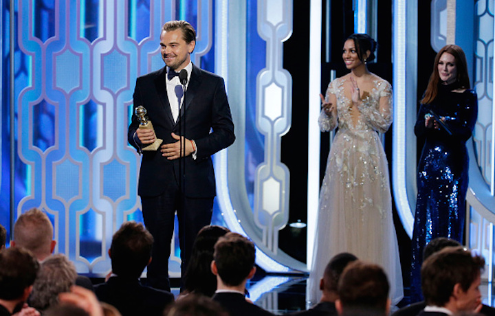 DiCaprio sul palco dei Golden Globe. Foto: Paul Drinkwater/NBCUniversal via Getty Images