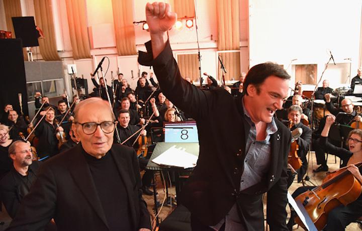 Morricone ha vinto il Globe (ed è candidato gli Oscar) per la colonna sonora del film di Tarantino. Foto: Kevin Mazur/Getty Images for Universal Music