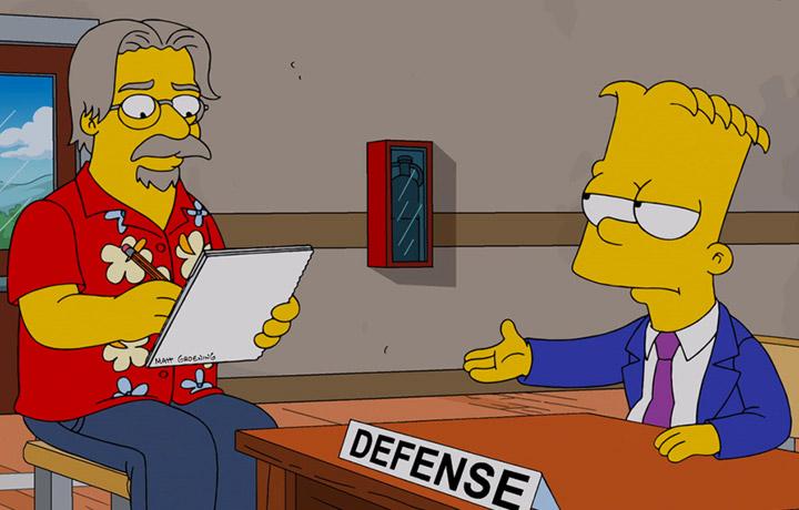 Matt Groenin in versione animata insieme alla sua creazione Bart Simpson