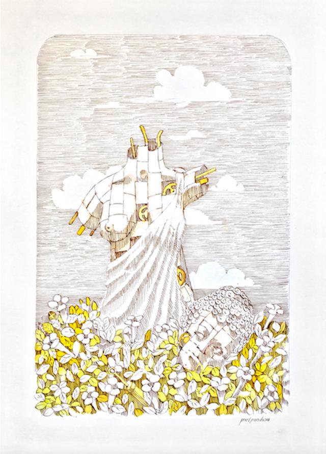 Pixelpancho - La dea, inchiostro e acquerello su carta - 25 x 35 cm, 2016